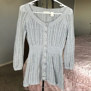 DKNY Jeans Knit Button Down Grey Cardigan Size L
